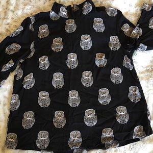 H & M ladies blouse, black owls, size 6